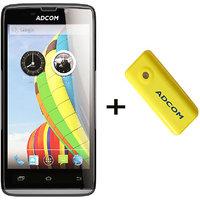 Combo Of Adcom A50 - Black + APB 4400mAh Powerbank- Yellow - 4856894