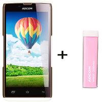 Combo Of Adcom A50 - White + APB 2200mAh Powerbank- Pink