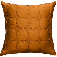 Circular Pattern Texture Quilted & Embroidered, Gold Yellow Cushion Cover
