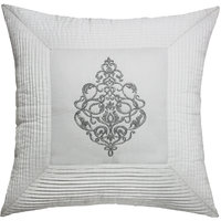 Damask Framed With Pleats Quilted Embroidered & Pleated, White & Steel Cushion Cover