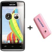 Combo Of Adcom A50 - Black + APB 4400mAh Powerbank- Pink