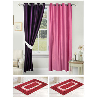 Azaani Beautiful Polyester Solid Set Of 2 Solid Door Curtains With Two Cotton Bathmat