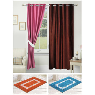 Azaani beautiful polyester solid set of two door curtains with one jute carpets  two cotton bathmat