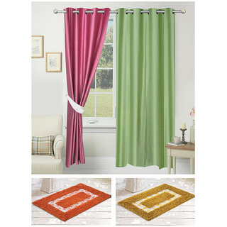 Azaani beautiful polyester solid set of two door curtains with one jute carpets & two cotton bathmat