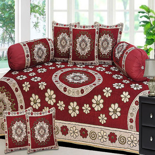 Choco Creation Floral Velvet Diwan Set in Red Colour