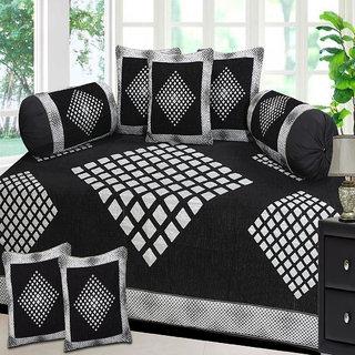 Choco Creation Diamond Design Velvet Diwan Set In Black Colour