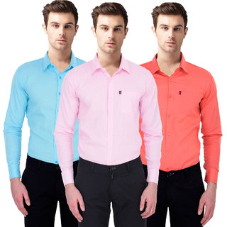 Black Bee Slim Fit Casual Poly-Cotton Shirt for Men Pack Of 3