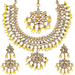 Jewels Gehna Elegant Traditional Antique Fashion Designer Gold Plated Latest Designer Necklace Set For Women  Girls