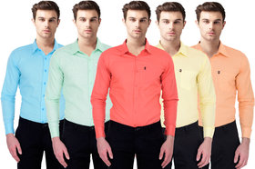 Black Bee Slim Fit Casual Poly-Cotton Shirt for Men Pack Of 5