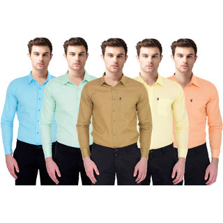 Balino London  Slim Fit Casual Poly-Cotton Shirt for Men Pack Of 5