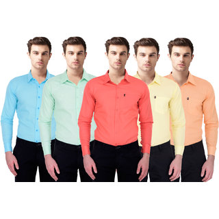 Black Bee Slim Fit Casual Multicolor Poly-Cotton Shirt for Men Pack Of 5