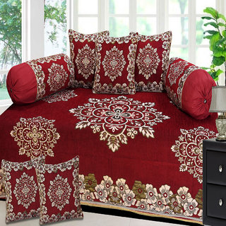 Choco Creation Floral Design Velvet Diwan Set In Red Colour