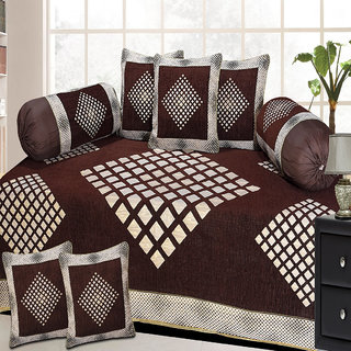Choco Creation Diamond Design Velvet Diwan Set In Brown Colour
