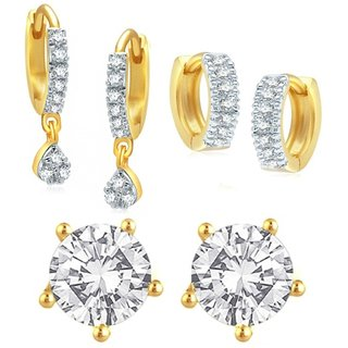 Penny Jewels Cubic Zirconia Designer Latest Simple Combo Earring Set For Women  Girls (Pair Of 3)