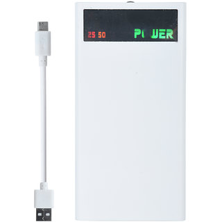 Lionix Big Display High Capacity 4 Port 18000 Mah Power Bank (White) With 6 Months Manufacturing Warranty