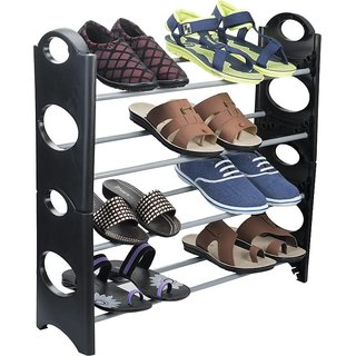 IBS  Simple Standing Home Organizer Stackable Shoe Rack Pplasttic, Steel Collapsible  (4 Shelves)