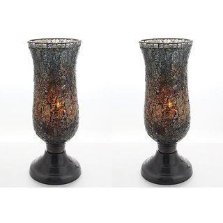 AnasaDecor Multicolor Crackle Glass Hurricane Candle Holder Set of 2
