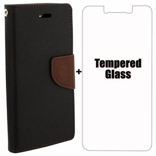 Mercury Diary Wallet Flip Case Cover for Lenovo K3 / A6000 Brown Premium Quality + Tempered Glass By Mobimon