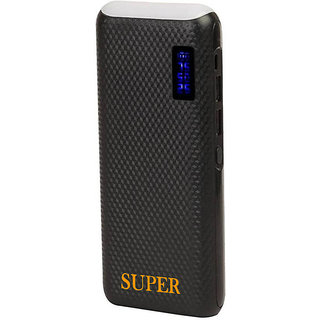 Super Top Light with Percentage Indicator 10000 mah PowerBank (Black)