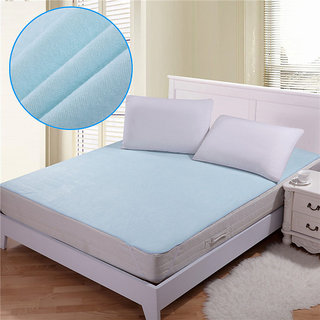 JBG Home Store Waterproof Non Wooven Double Bed Mattress protector with Elastic Strap Blue
