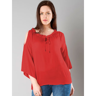 5a4f1b03125a09 Buy Westrobe Womens Red 3 4 Sleeve Rayon Crepe Cold Shoulder Top ...