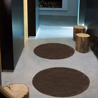 Azaani beautiful solid set of 2 rounded brown cotton bathmat,