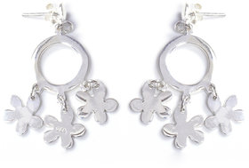 Verra Circle Drop Multi Flowers Sterling Silver Earrings