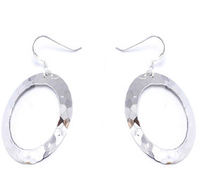 Verra Round Hammer Texture Sterling Silver Earrings