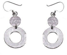 Verra Circle Drop Circle Hammer Texture Sterling Silver Earrings