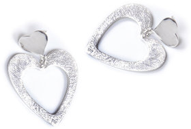 Verra Double Hearted Sterling Silver Earrings