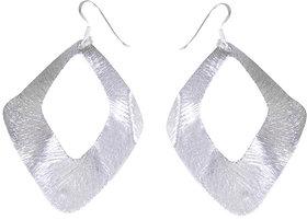 Verra Wide Open Bended Leaf Shaped Sterling Silver Earrings