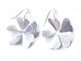 Verra Flowers Shaped Scratch Finish Sterling Silver Earrings