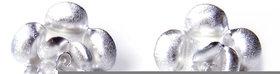 Verra Flowers Shaped Scratch Finish Stud Sterling Silver Earrings