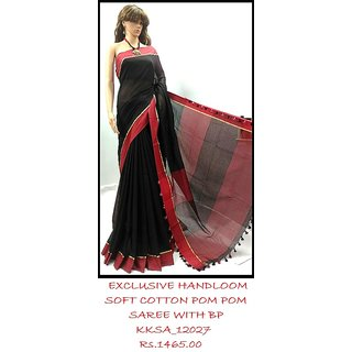 Hand-loom Soft Cotton  Black  Red Saree has always been extremely fascinating