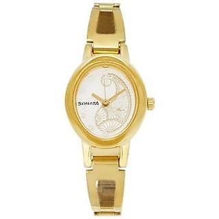 Sonata Quartz White Dial Women Watch-8085YM02