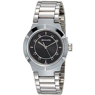 Sonata Quartz Black Dial Women Watch-8138SM01