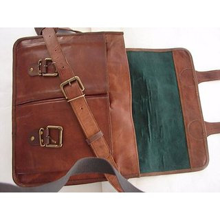0dc0d5ddcd52 Buy IN-INDIA Pure Leather Unisex Office Formal Travel Brown Laptop Messenger  Bag 10inchx13inch Online   ₹2199 from ShopClues