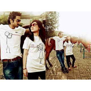 "Couple Tshirts (Pack Of 2) MixArt White Round Neck ""Hand-Painted-Love Message"""