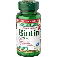 Nature's Bounty Biotin 10,000 MCG Softgels, 120 Count