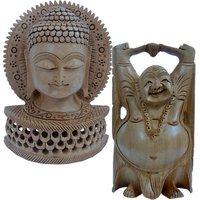 UFC Mart Buy Wooden Buddha Statue N Get Laughing Buddha Free