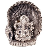 UFC Mart White Metal Antique Lord Ganesha On Naag Idol