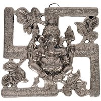 UFC Mart Antique White Metal Swastik Ganesha Hanging