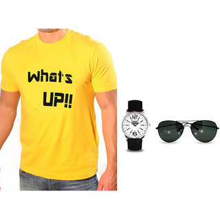 Whats Up Printed Round Neck Tshirts Free With Wrist Watch And Sunglass