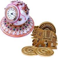 UFC Mart Buy Marble Table Clock N Get Wood Tea Coaster Free