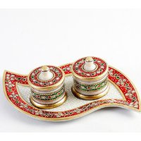 UFC Mart Leaf Design Marble Tray And Utility Containers With Kundan Work