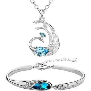 OM Jewells Rhodium Plated Contemporary Combo of 1 Pendant::1 Chain::1 Bracelet for Women