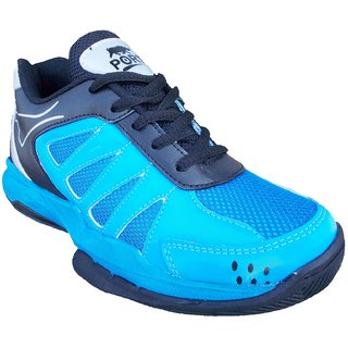 Port Mens SHANIDER Blue Synthetic PVC Badminton Shoes