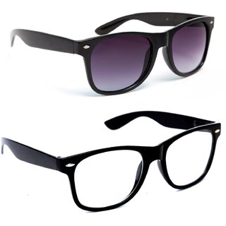 TheWhoop Combo Black Transparent Spectacle And Black Wayfarer Sunglasses