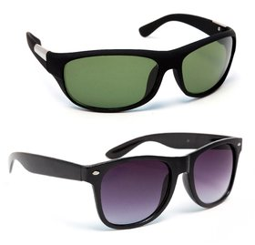 TheWhoop Combo Green Sports Goggles And Black Regular Wayfarer Sunglasses