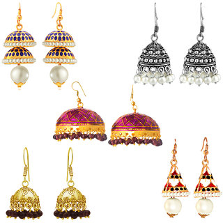 Spargz Party Wear Gold Plated Combo of 5 Pair Hook Earring Combo 577